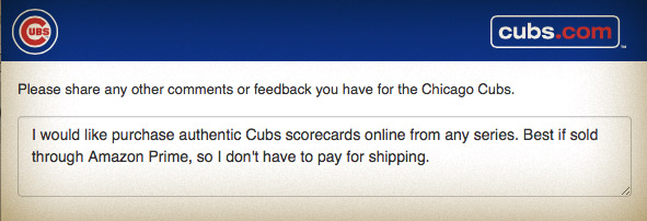 My request to the Cubs for scorecards to be sold online
