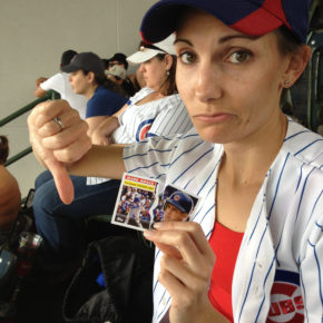 My wife and a ripped Mark Grace card