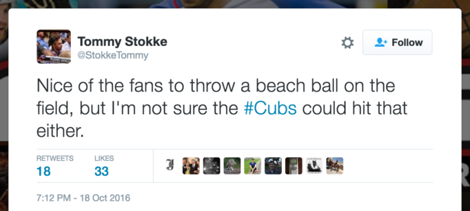 Nice of the fans to throw a beach ball on the field, but I'm not sure the #Cubs could hit that either.