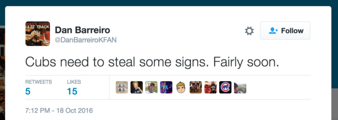Cubs need to steal some signs. Fairly soon.