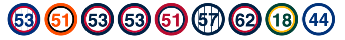 Rich Hill's collection of uniform numbers