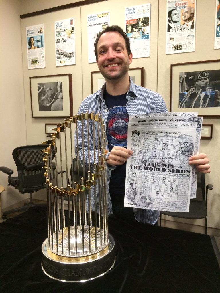Matt Maldre, scorecards, and World Series trophy