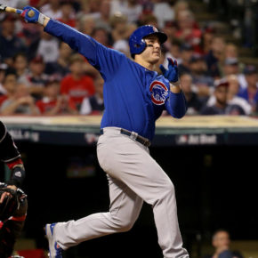Anthony Rizzo hits a home run in game six (Brian Cassella / Chicago Tribune)