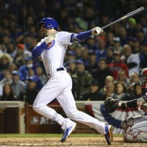 Kris Bryant hits a home run in game 5 of the 2016 World Series