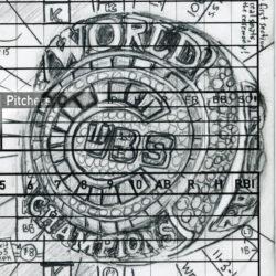 Cubs World Series ring drawn on a scorecard