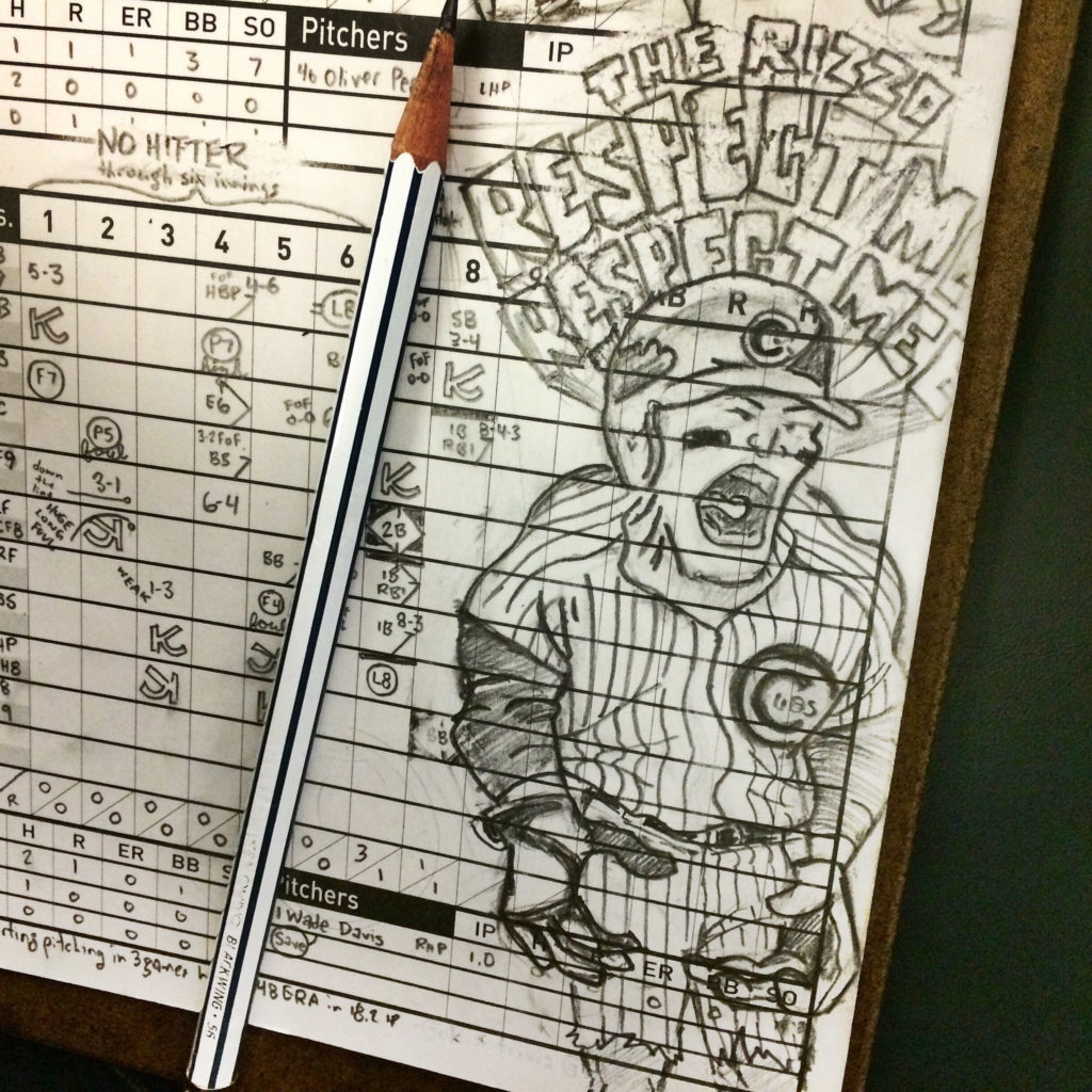 """Scorecard in progress: Rizzo yelling """"RESPECT ME! RESPECT ME"""" illustrated in the style of The Incredible Hulk."""