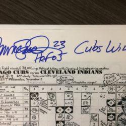 Ryne Sandberg autographed scorecard for 2016 World Series