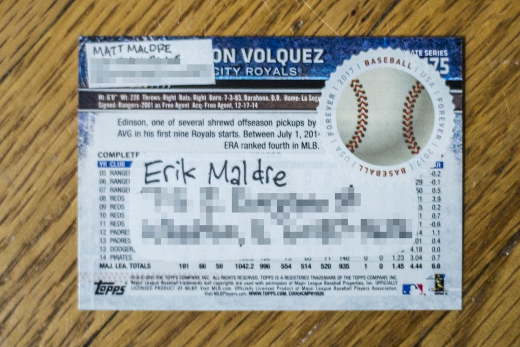 Back of 2015 Topps Update #US175 - Edinson Volquez