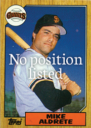 1987 topps - mike aldrete - no position listed