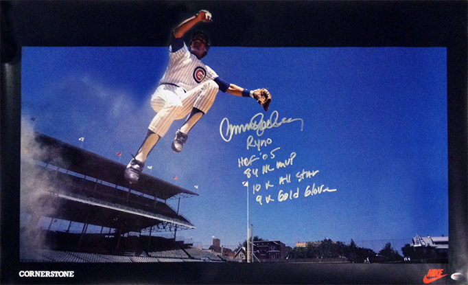 Ryne Sandberg jumping, poster Cornerstone Nike, Wrigley Field
