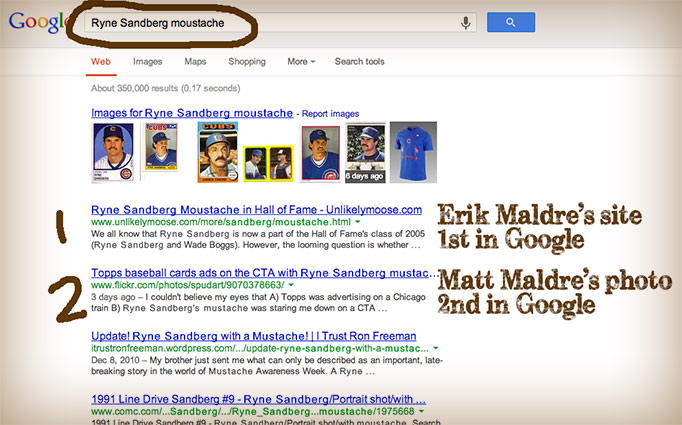 Ryne Sandberg mustache on Google