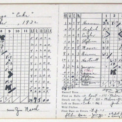 "Scorecard of the 1932 Babe Ruth ""called shot"" world series game"