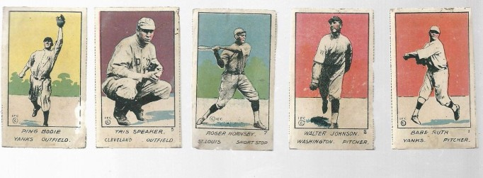 1920 W516 1 Babe Ruth, Walter Johnson, Roger Hornsby, Tris Speaker, Ping Bodie