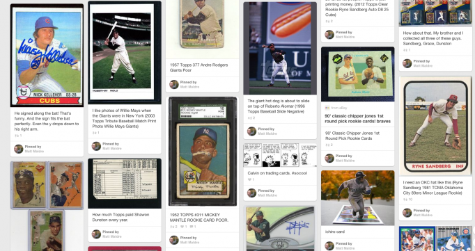 Baseball card pinterest board