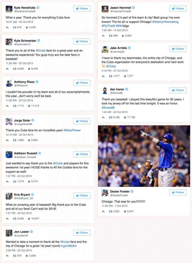 Cubs players thank fans on Twitter