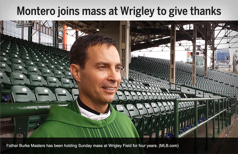 Father Burke Masters has been holding Sunday mass at Wrigley Field for four years. (MLB.com)