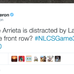 Any chance Arrieta is distracted by Larry King eating in the front row? #NLCSGame3 @wlsam890