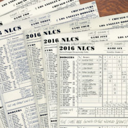 collage of Erik's 2016 NLCS scorecards