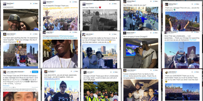 Collage of Cubs players giving thanks on Twitter for 2016 World Series championship