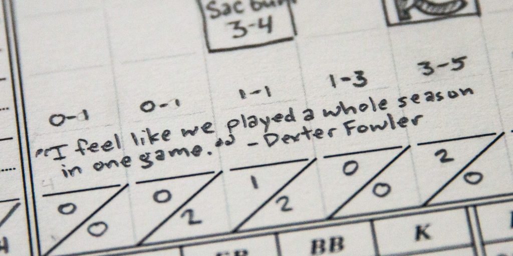 Dexter Fowler quote (2016 World Series, Game 7 scorecard)