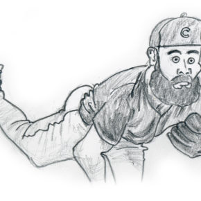 Jake Arrieta drawing, Game 2 Chicago Cubs 2016 World Series
