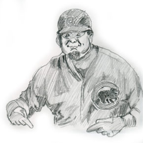 Kyle Schwarber drawing, Game 2 Chicago Cubs 2016 World Series