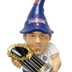 Anthony Rizzo Cubs gnome statue holding World Series trophy