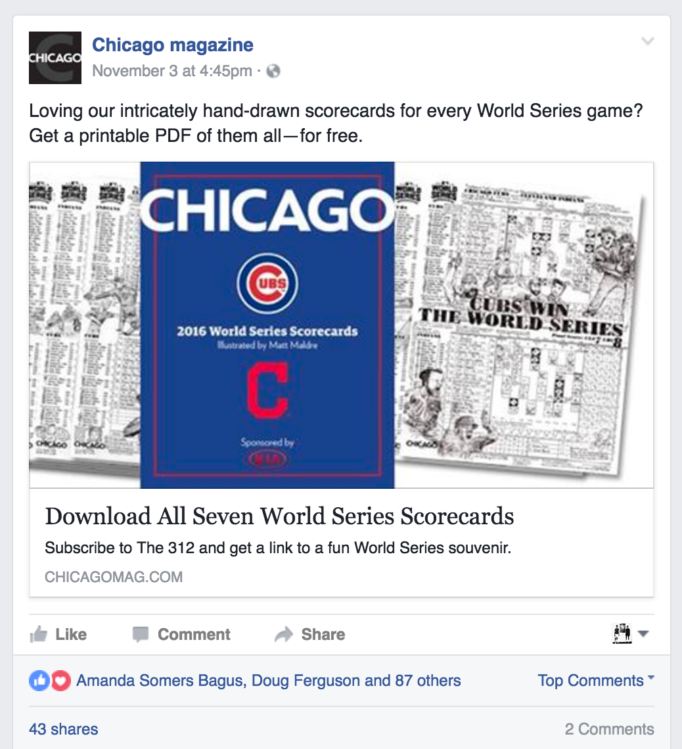Loving our intricately hand-drawn scorecards for every World Series game? Get a printable PDF of them all--for free. (Chicago magazine Facebook post)