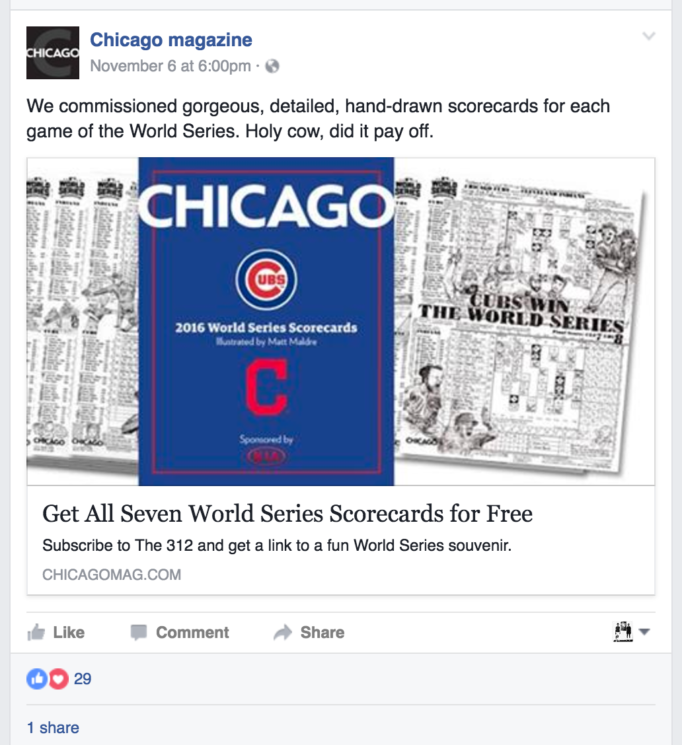 We commissioned gorgeous, detailed, hand-drawn scorecards for each game of the World Series. Holy cow, did it pay off. (Chicago magazine Facebook post)