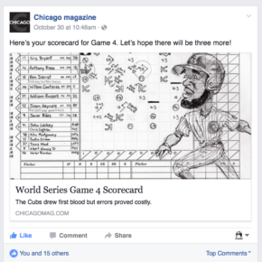 Here\'s your scorecard for Game 4. Let\'s hope there will be three more! (Chicago magazine Facebook post)