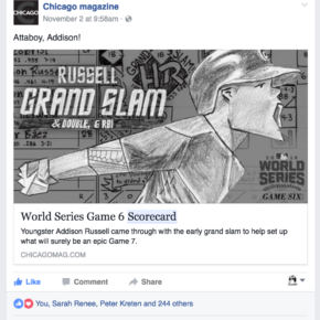 Attaboy, Addison! (Chicago magazine Facebook post)