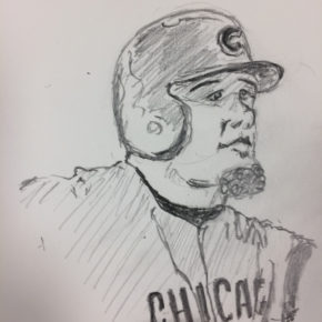 Pencil drawing of Kyle Schwarber