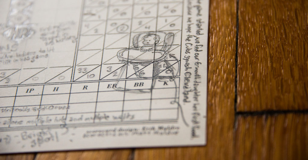 closeup of corner of scorecard that includes my daughter