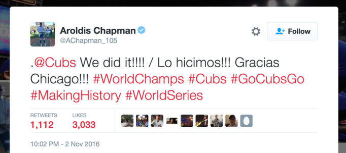 .@Cubs We did it!!!! / Lo hicimos!!! Gracias Chicago!!! #WorldChamps #Cubs #GoCubsGo #MakingHistory #WorldSeries