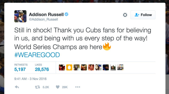 Still in shock! Thank you Cubs fans for believing in us, and being with us every step of the way! World Series Champs are here #WEAREGOOD