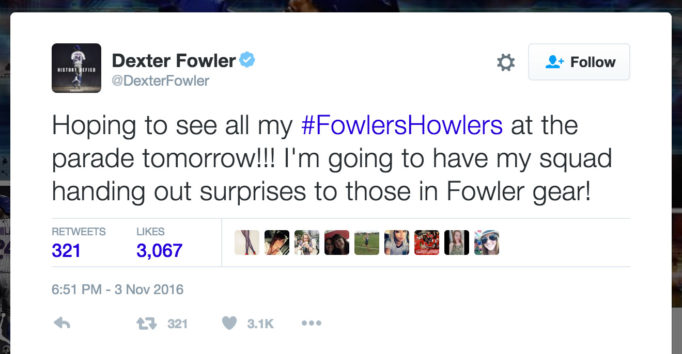 Hoping to see all my #FowlersHowlers at the parade tomorrow!!! I'm going to have my squad handing out surprises to those in Fowler gear!