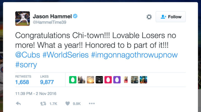 Congratulations Chi-town!!! Lovable Losers no more! What a year!! Honored to b part of it!!! @Cubs #WorldSeries #imgonnagothrowupnow #sorry