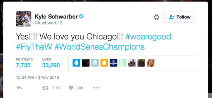 Yes!!!! We love you Chicago!!! #wearegood #FlyTheW #WorldSeriesChampions