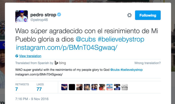WAO super grateful with the resinimiento of my people glory to God @cubs #believebystrop https://www.instagram.com/p/BMnT04Sgwaq/