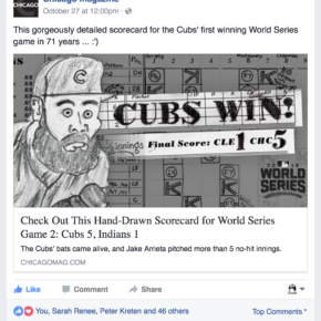 This gorgeously detailed scorecard for the Cubs' first winning World Series game in 71 years ... :')