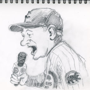 Pencil drawing of Bill Murray singing 7th inning stretch at game 3 of 2016 World Series
