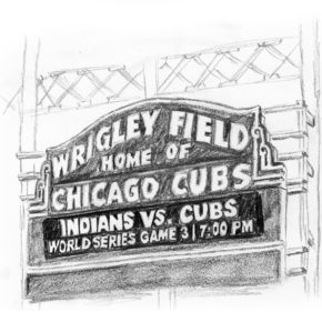 Wrigley Field marquee: Indians vs. Cubs World Series Game 3 7:00pm