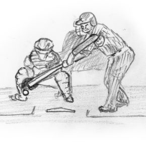 Drawing of Willson Contreras striking out for a third time in game 4 of 2016 World Series