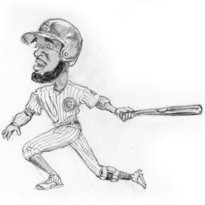 Pencil drawing of Dexter Fowler in game 4 of 2016 World Series