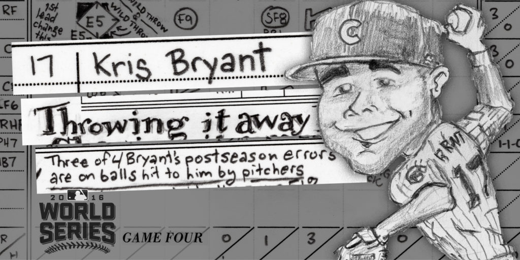 Kris Bryant promo for Game 4 scorecard of 2016 World Series