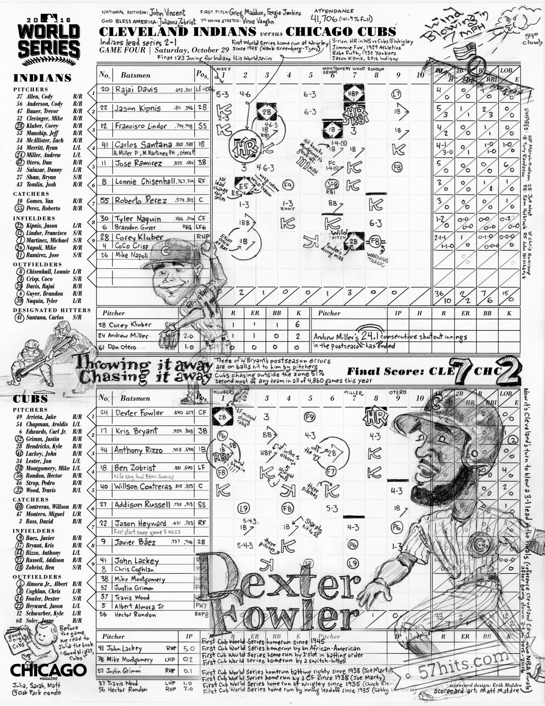 Game 4 scorecard for 2016 World Series by Matt Maldre