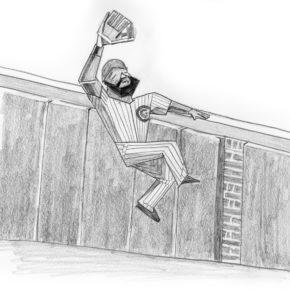 Pencil drawing of Jason Heyward making wall catch in game 5 of 2016 World Series