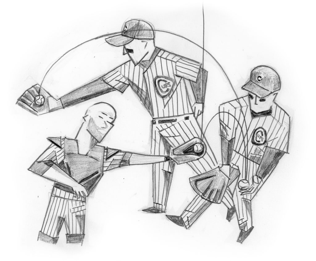 Pencil drawing of David Ross and Anthony Rizzo making bobble catch in game 5 of 2016 World Series