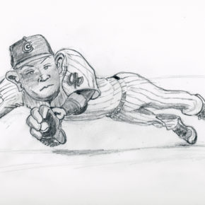 Pencil sketch of Addison Russell making diving catch in game thr