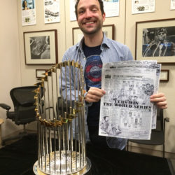 Matt Maldre, scorecards, and World Series trophy